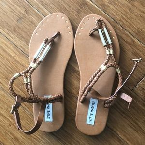 Steve Madden Sandals Tan and Gold Sz 10